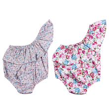 Flower Baby Girl Romper Summer Short Sleeve One-piece Beachwear Ruffles Jumpsuit Off Shoulder Clothes 3-18M