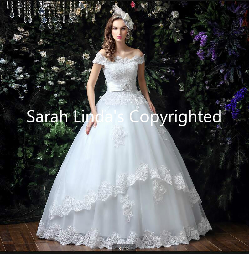 2016 new arrival a line white lace appliques pleated wedding dresses off the shoulder beading crystals wedding gowns on sale