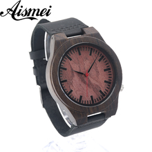 Excellent quality top japanese movement wristwatches leather bamboo wooden watches for men and women gifts