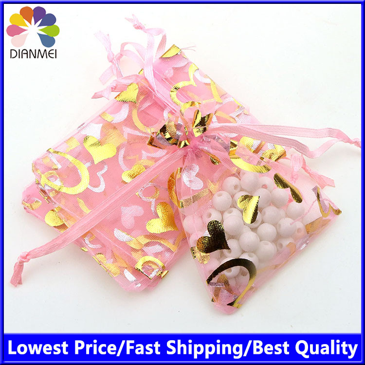Heart Pink Bronzing Organza Jewelry Packaging Gift Bags Decoration Pouches Sack Pochette Tulle Bonbon 7x9cm 100pcs/lot Wholesale
