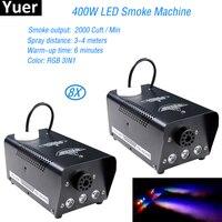 8 pçs/lote Controle Remoto 400W Máquina de Fumaça Máquina de Fumaça LEVOU RGB 3in1 Full Color Professional Disco Iluminação Cénica DJ equipamentos