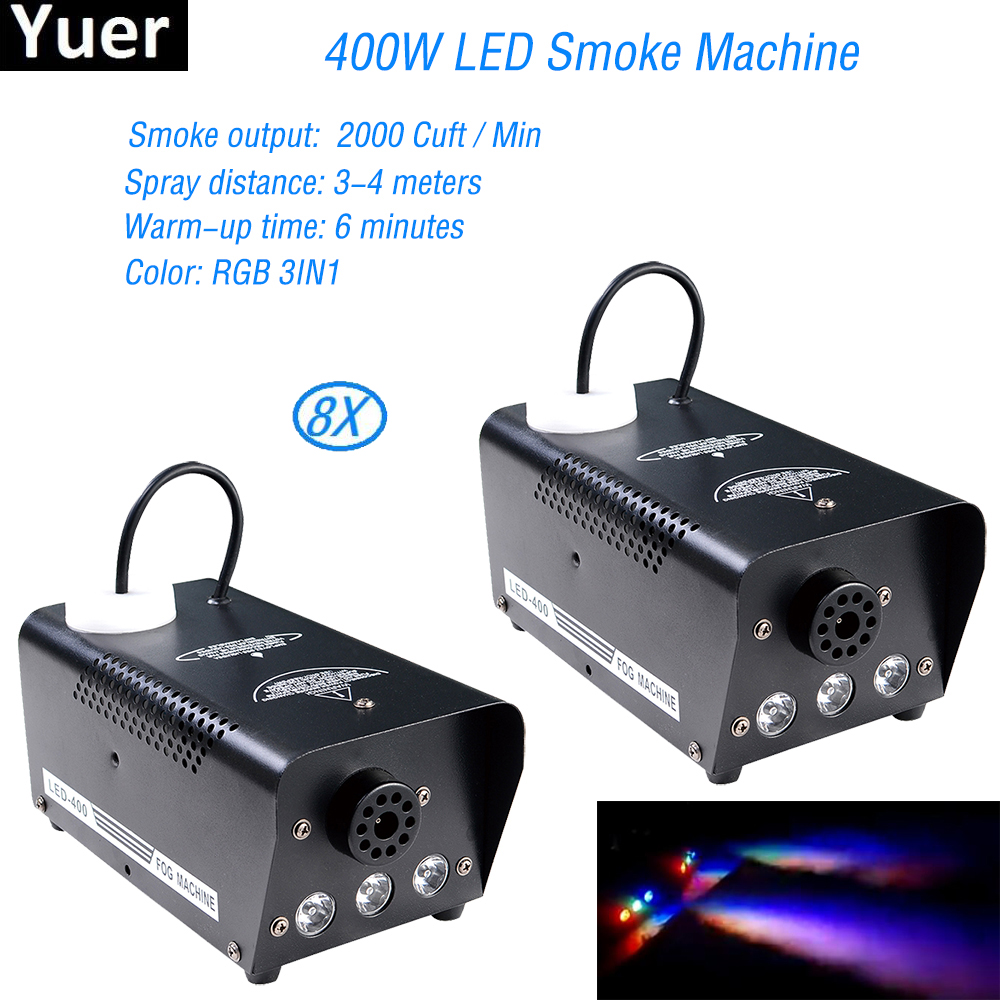8Pcs/Lot Remote Control 400W LED Smoke Machine RGB 3in1 Full Color Fog Machine Professional Disco Stage Lighting DJ Equipment