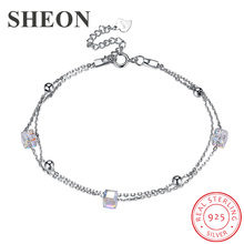 SHEON New Arrival 100% 925 sterling silver Sugar Cube Personality Crystal Bracelets Link Chain Fine Wedding & Engagement Jewelry