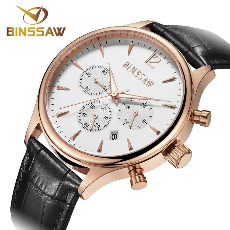 Luxury sports watch fashion waterproof leather timing BINSSAW original business men wristwatch quartz watch relogio masculino