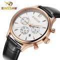 Relógio esportivo de luxo moda couro à prova d ' água tempo BINSSAW calendário original clássico do homem de negócio relógio de pulso de quartzo - assista