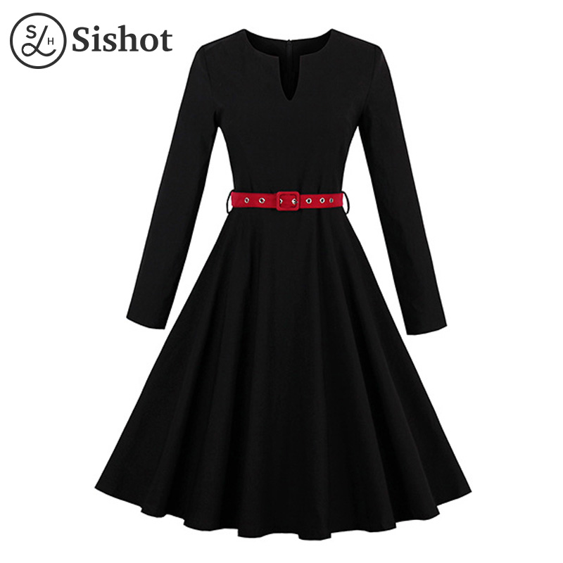 Sishot women vintage dresses 2017 autumn black plain long sleeve a line red belt elegant o neck knee length fall retro dress