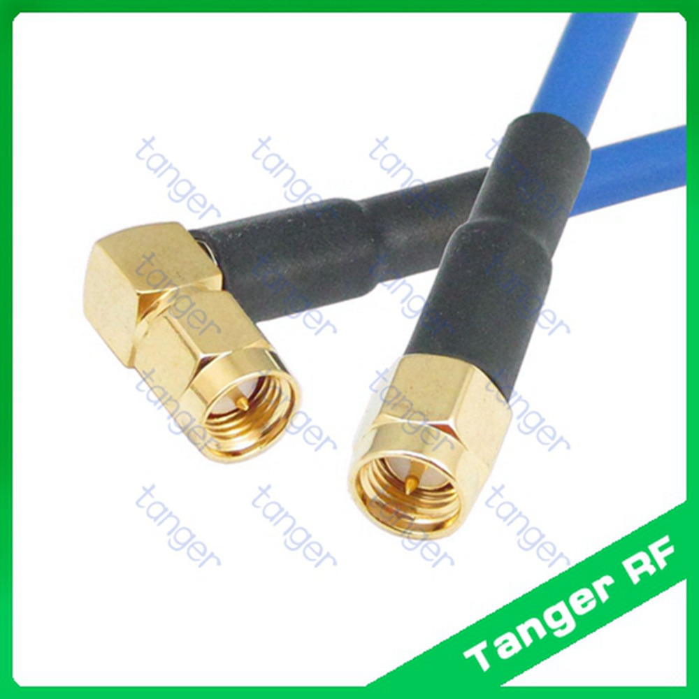 SMA male right angle connector to SMA male plug with RG402 RG141 RG-402 Blue RF Coaxial Jumper Semi Flex cable 20in 50cm Coax 1pc sma male to sma female right angle 90 degrees rf coaxial connector adapter