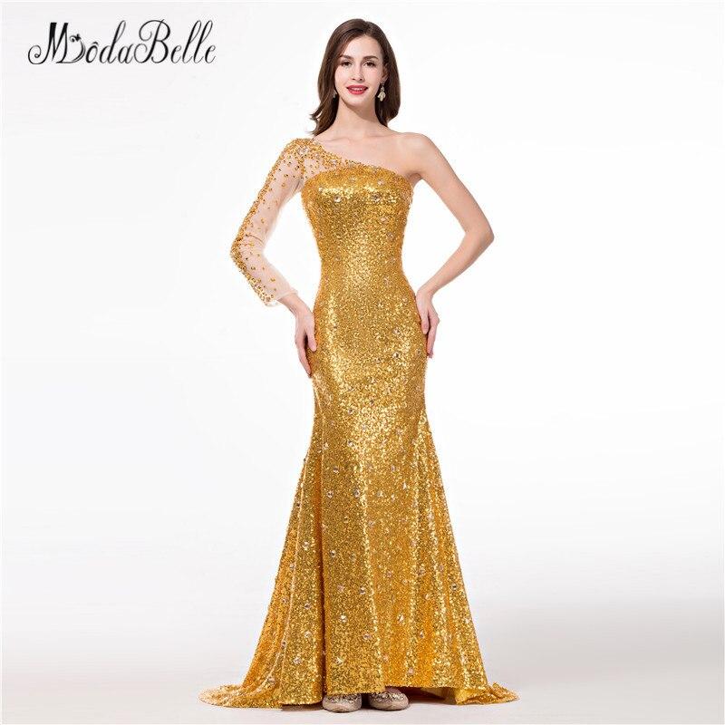 Modabelle One Shoulder Gold Prom Dresses Girls African 2018 Real