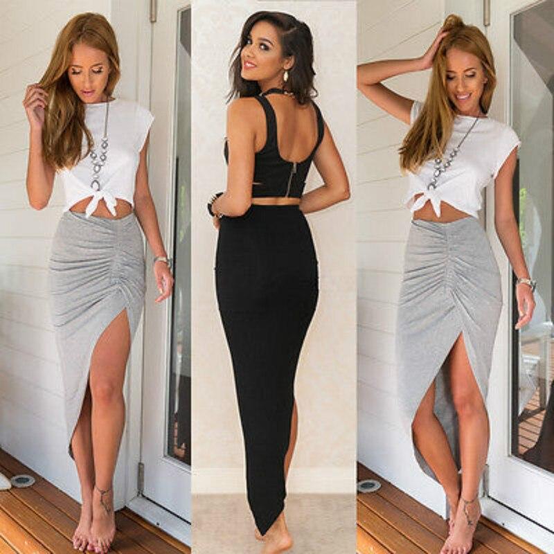 Women  Asymmetrical High Waist Open Mini Skirt  Grey
