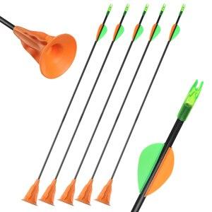 Image 1 - Детская стрела присоска Huntingdoor, 6/12 шт., 60 см, диаметр 6 мм, безопасная стрела с ноками, уличная детская стрела лук, оборудование, игрушка