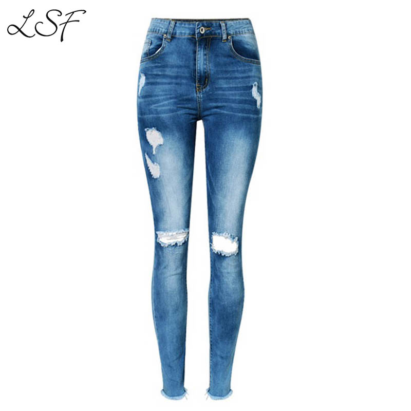 Lanshifei Brand Clothing 2017 High Waist Ripped Jeans For Women Casual stretch Slim Fit Pencil Pants Ankle-length Hole Trousers