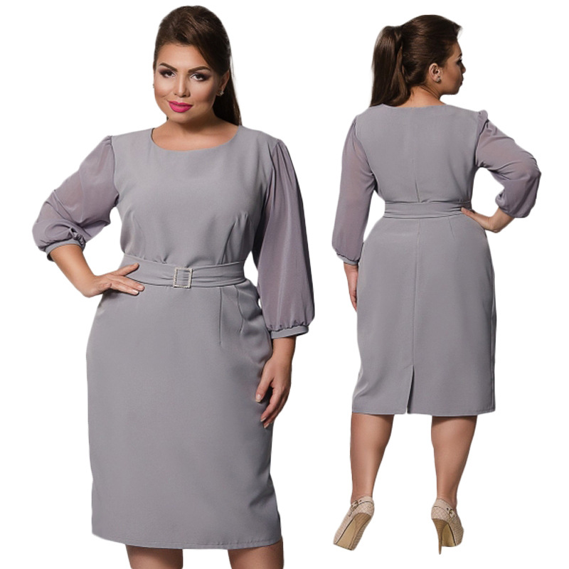 Plus Size Elegant Women Under 20 Years Old Office Dresses -8178