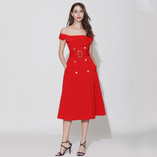 2019 Summer off-shoulder dress Women sexy belt Chic party A313
