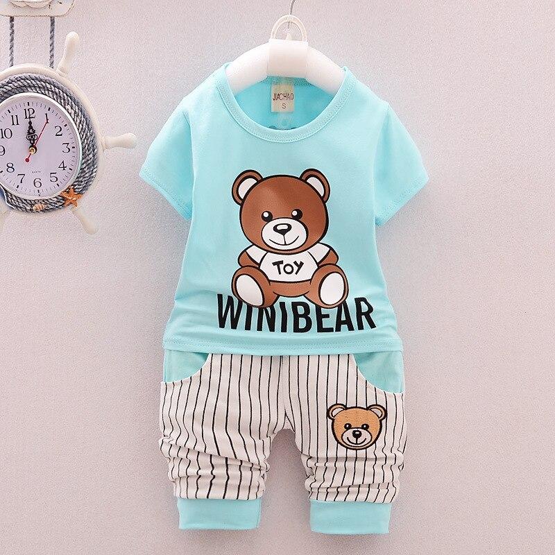 Baby Children Clothing Summer Boys/Girls Clothes Sportswear Cartoon Bear Printed Boy Toddler T-Shirt+Shorts Cotton Kids Clothing