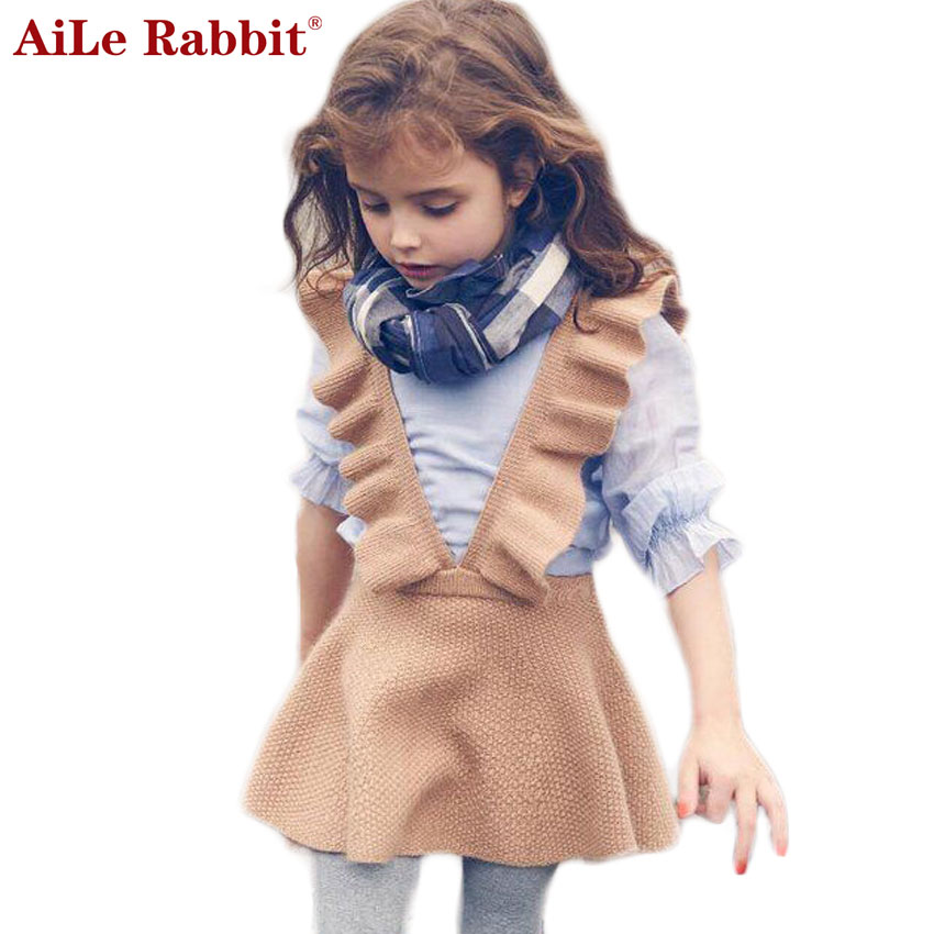 AiLe Rabbit Autumn 2017 Girls Dress Girl Clothing Knit Sweater Kids for Girl Robe Fille Kids Clothing Beautiful Vestidos