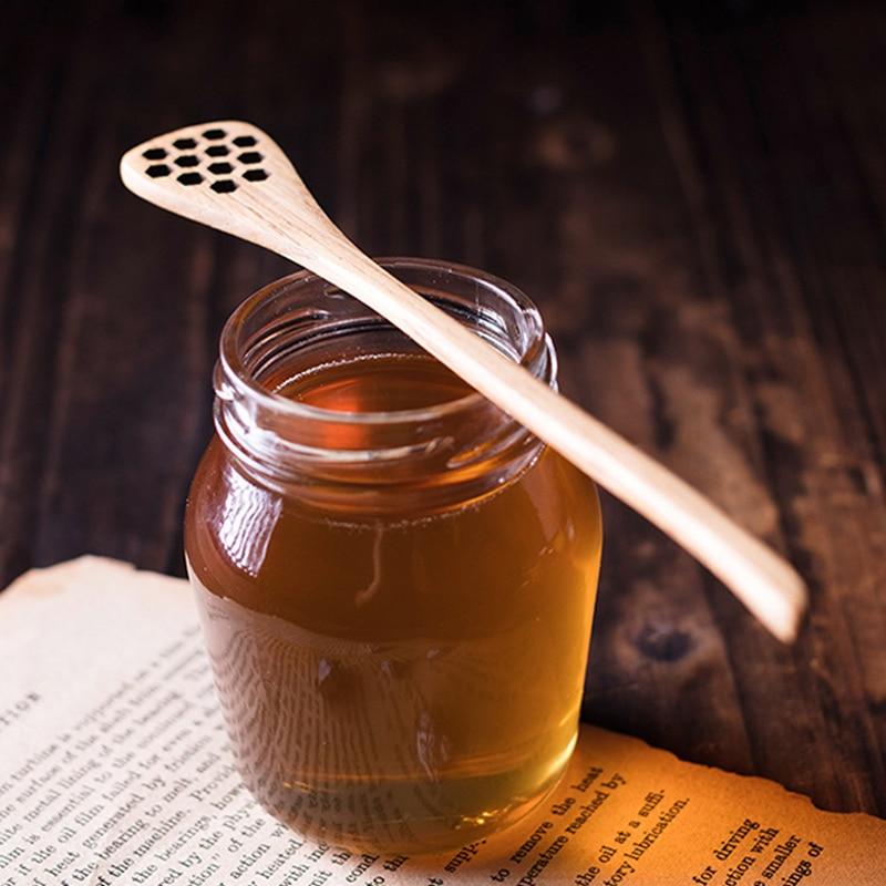 Wood Handmade Honey Sugar Mixing Stick Coffee Drink Stirrer Dipper Spoon W