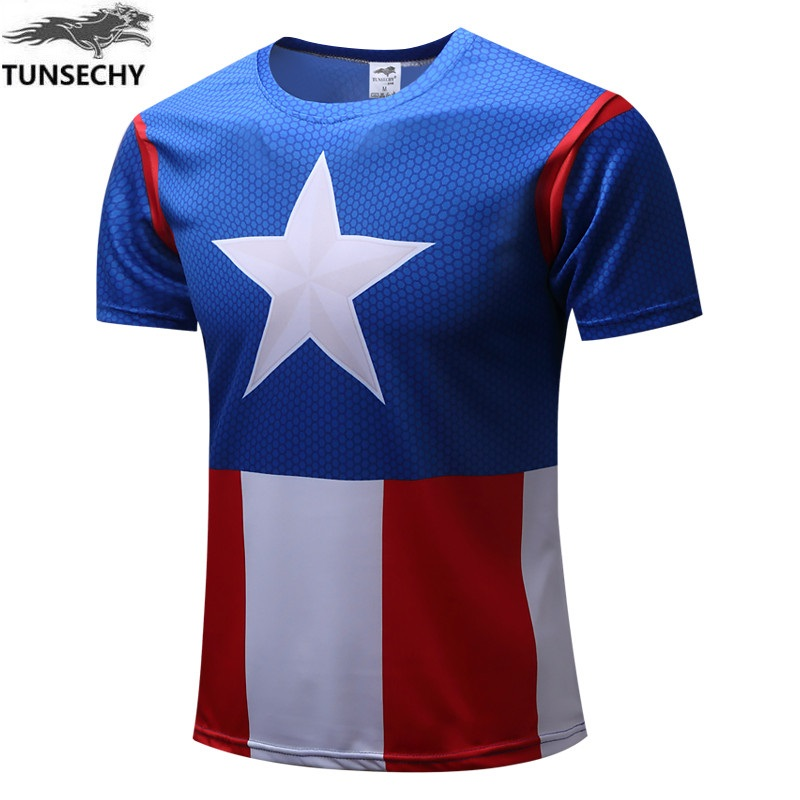 New TUNSECHY 2017 font b Men s b font font b clothing b font Captain America