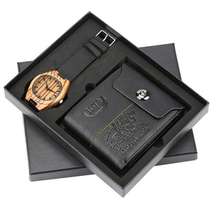 Luxury Black Leather Wallet + Nature Bamboo Wooden Watch Men Gift Set Box for Male Quartz Men's Watches Fashion Man Money Bag