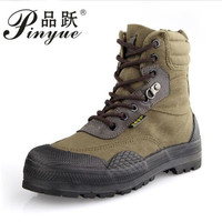 New Men Fashion Army Desert Boots Men Military Tactical Lace Up Canvas Camouflage Rubber Boots Size 38 44