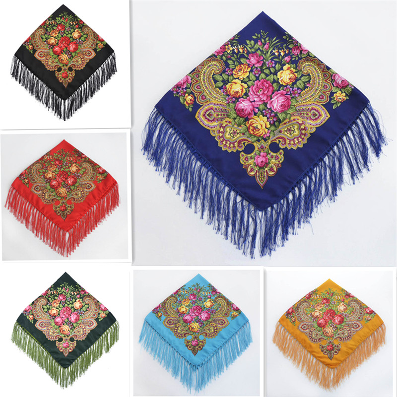 Luxury Brand Russian Woman folk Square scarf Cotton blend Tassel scarf shawl Blanket ladies turban cape red pink yellow blue