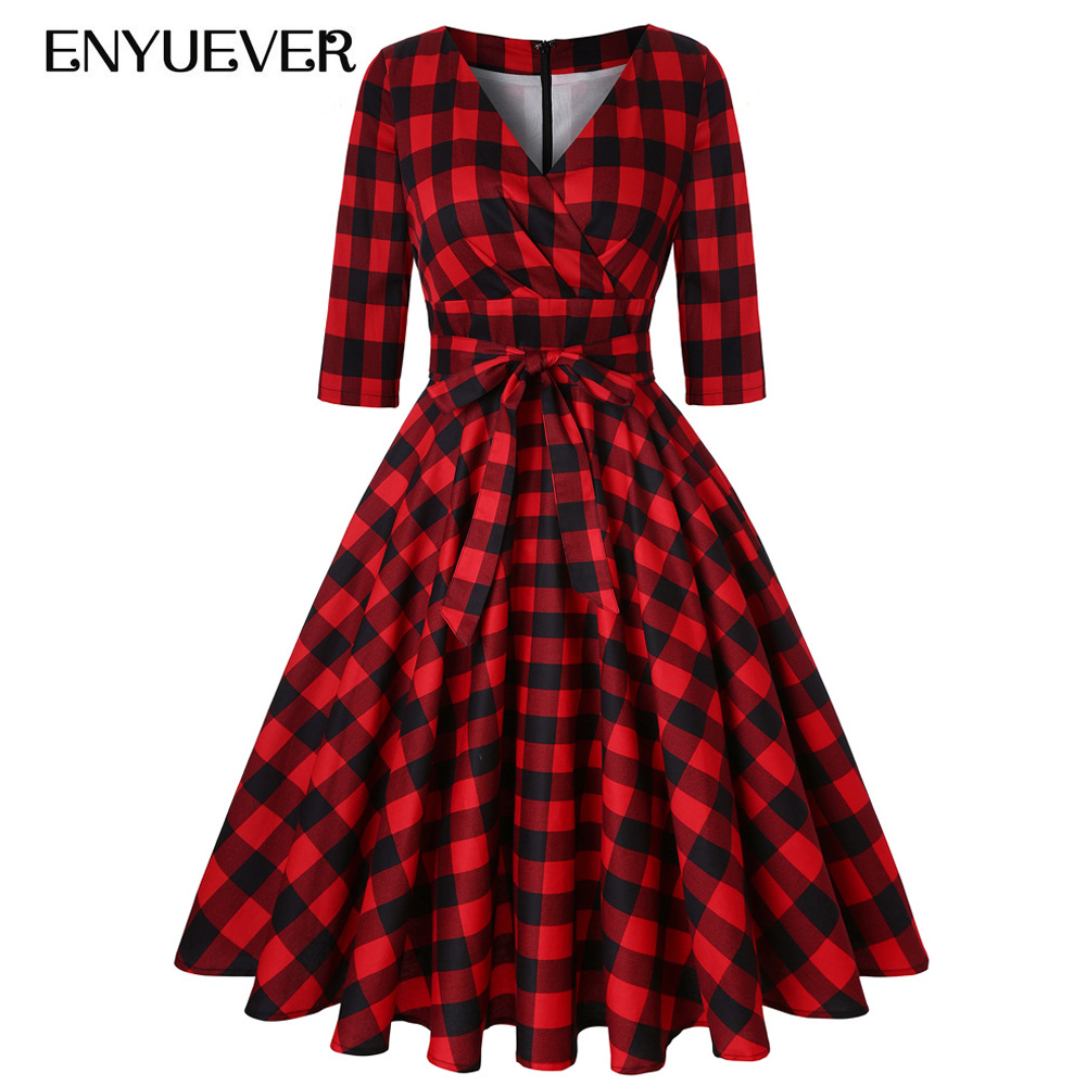 US $57.13 |Enyuever Plus Size Red Plaid Dress Womens Clothes Sleeve Cotton  Midi Tunic Rockabilly Party Vestido Vintage Jurk Checked Dress-in Dresses  ...