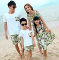 Free shipping Fashion Summer Family outfits Women girls Green long Dress , Man boys sets clothes