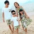 Frete grátis moda verão família roupas mulheres meninas vestido longo, Homem meninos conjuntos roupas
