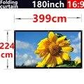 180 polegada 16:9 branco dobrar fibra suave cortina portátil para ao ar livre HD tela de projeção 3D de 3.99 x 2.2 metros frete grátis