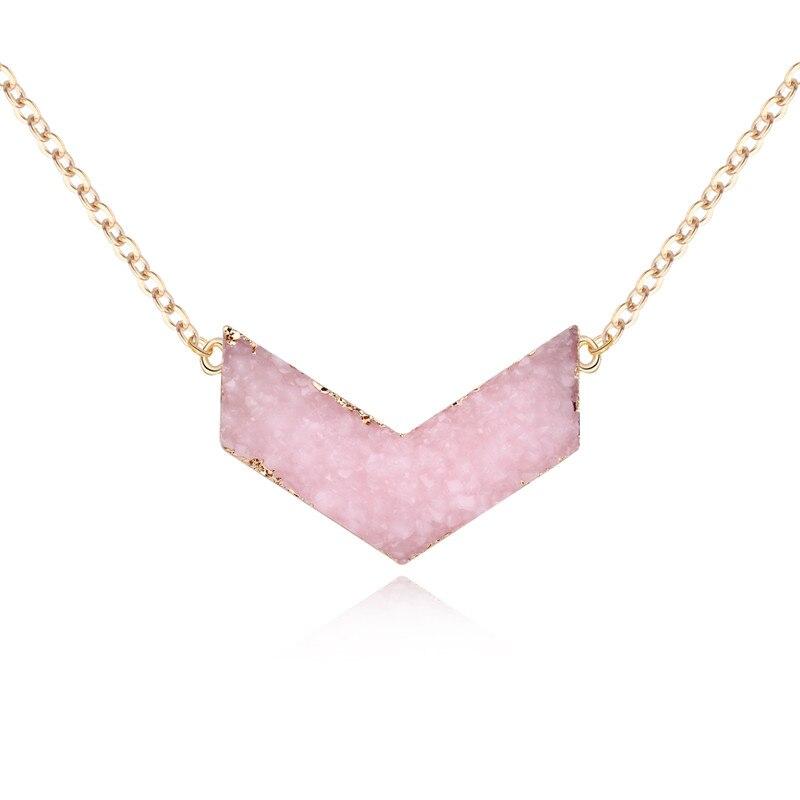 Dayoff European Pink Black V Shape Resin Pendant Necklace Women Gold Color Choker Necklace for Female