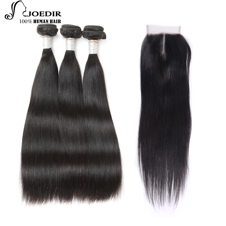 Joedir Buy 3 Bundles Get 1 Closure Free Bundles With Closure Peruvian Straight Hair Non Remy Human Hair Bundles With Closure