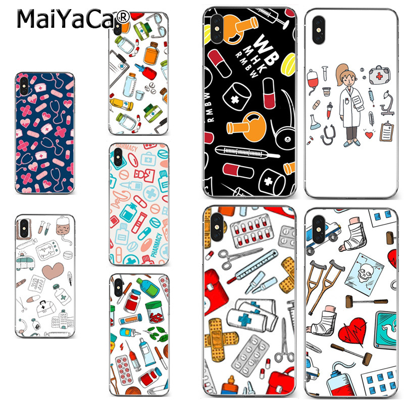 MaiYaCa Nurse cartoon Medical Pills Fashion Luxury phone case accessories for iPhone X XS MAX 5 6SPLUS 7 8plus case Coque funda