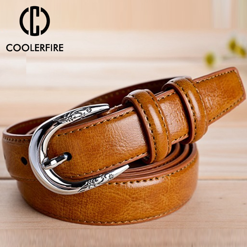 New Woman Genuine Leather Cow Skin Strap Fashion Vintage Belt Pin Buckle Belts For Women Top Quality Jeans Girdle LB017