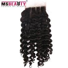 7A Brazilian curly virgin hair lace base lace closure 4×4 three part human hair closure Brazilian Curly Lace Closure