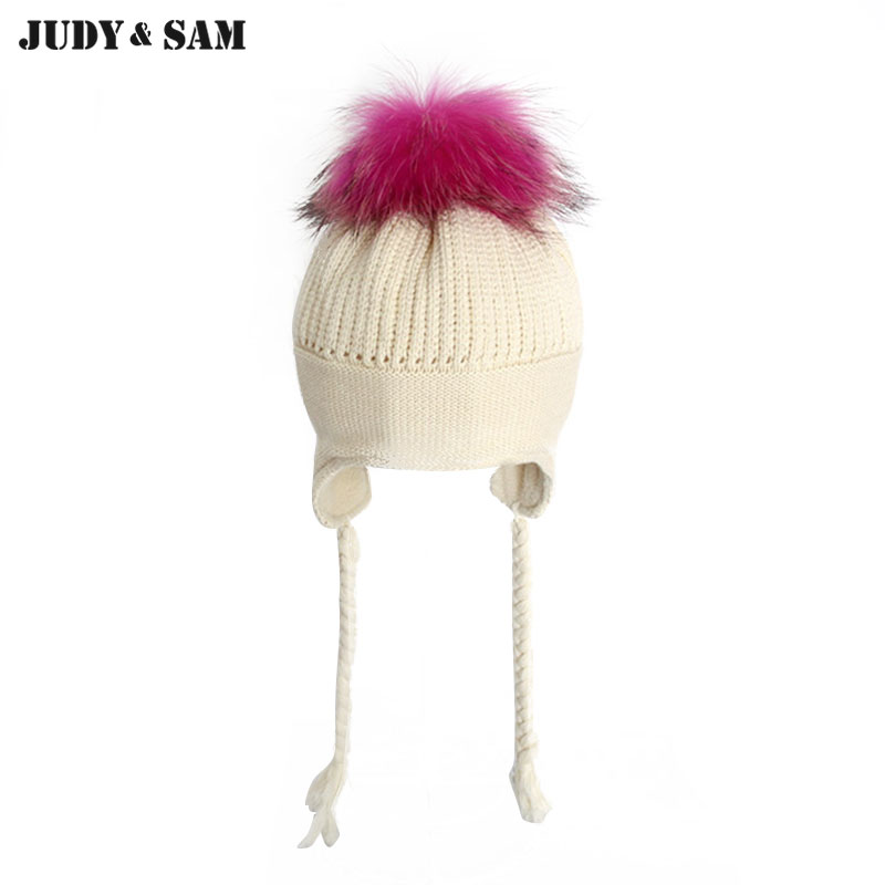 Baby Lovely Pure Cotton and Winter Braid Hat with Luxury Real Fur Pompom For Girls 1-3months Boys Baby Cap new star spring cotton baby hat for 6 months 2 years with fluffy raccoon fox fur pom poms touca kids caps for boys and girls