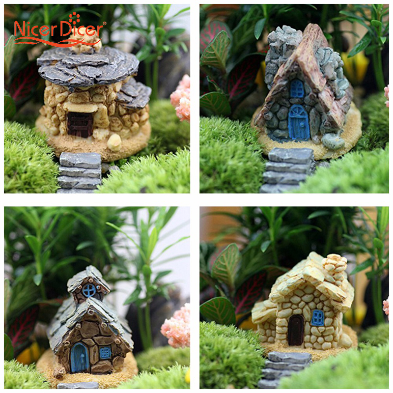 Buy miniature house fairy garden ornaments stone statue diy home outdoor decor - Garden decor stores ...