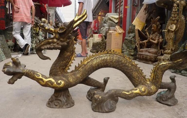 19Huge Chinese Bronze Gild Dragon Play Bead Statue R0715 B040319Huge Chinese Bronze Gild Dragon Play Bead Statue R0715 B0403