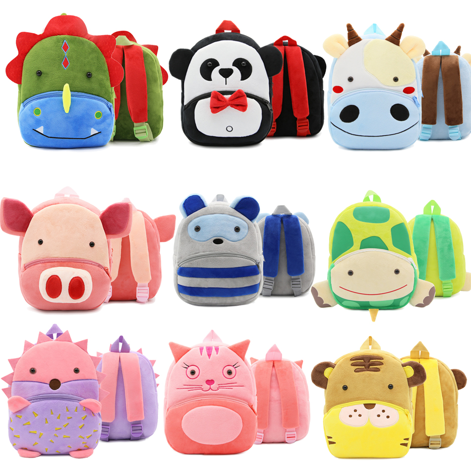 new cute cartoon kids plush backpack toy mini school bag children s gifts kindergarten boy girl baby student bags lovely mochila 15 kinds New cute cartoon kids plush backpack toy 26.5cm mini school Children's gifts kindergarten boy girl baby student bags