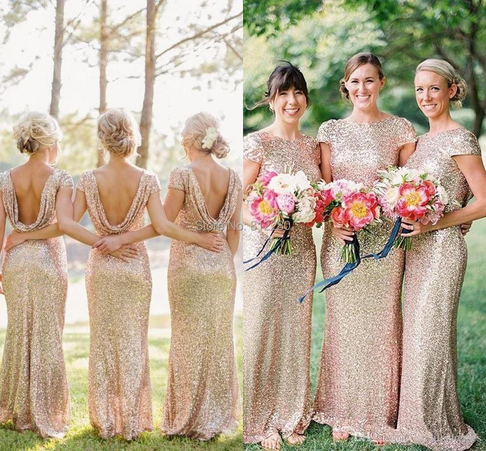 Champagnegold long bridesmaid dresses sequined short sleeve floor item description ombrellifo Gallery