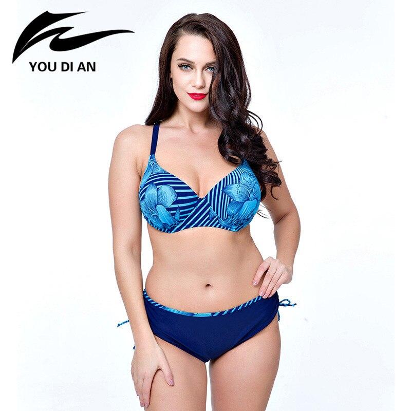 2017 New Arrival Blue Navy Blue Pink Swimsuits Floral Print Plus Size Biquini Sets Big Bust Maillot De Bain For Women