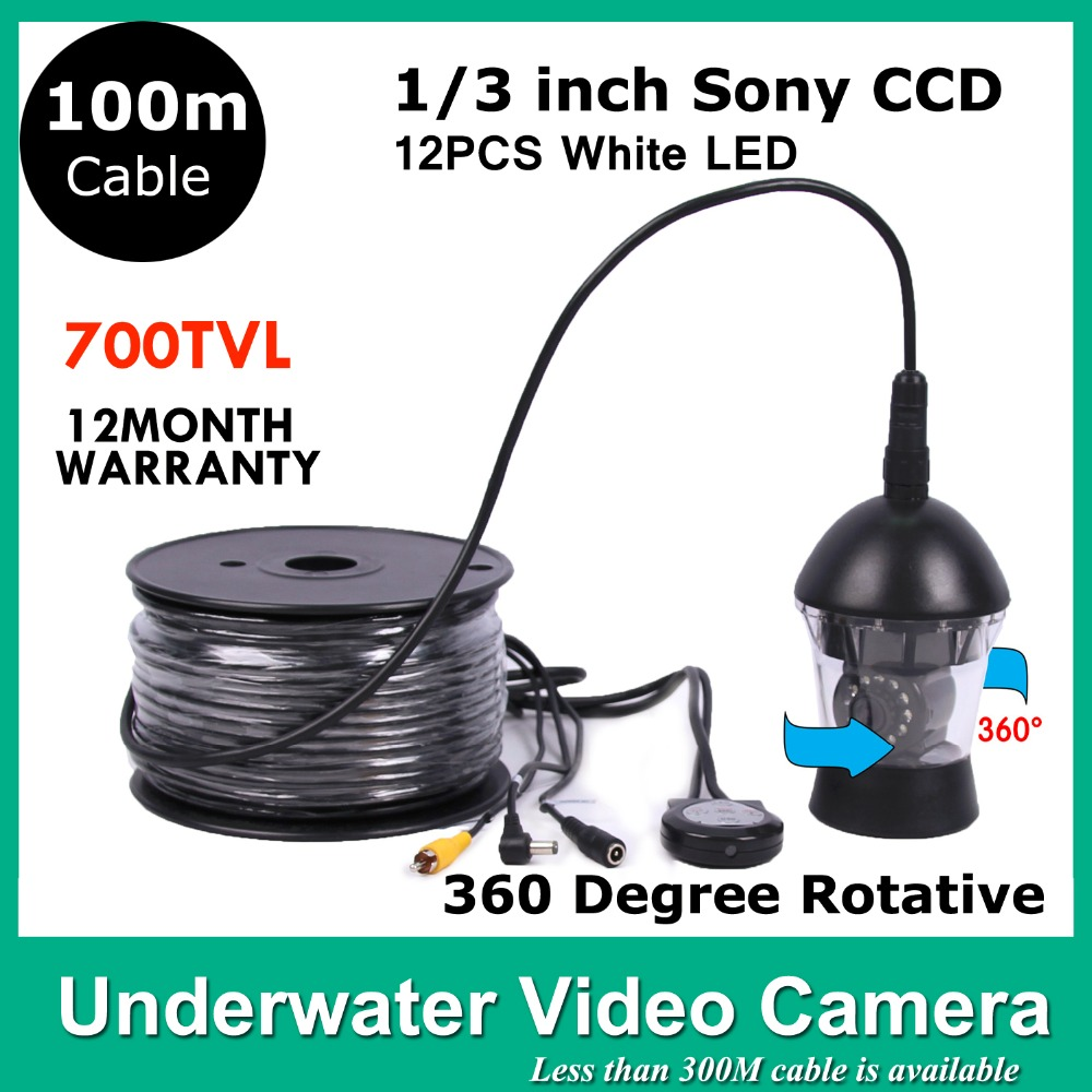 100 METERS Cable Underwater Inspection View <font><b>Camera</b></font> For <font><b>Fishing</b></font> System 12 LED LIGHTS 700 TVLINES Waterproof Underwater <font><b>Camera</b></font>
