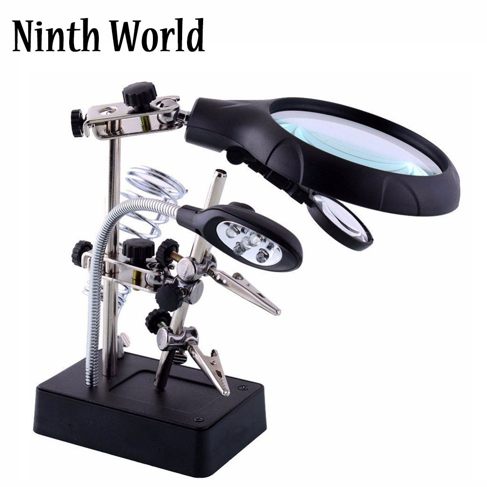 2.5X 7.5X 10X LED Light Magnifier & Desk Lamp Helping Hand Repair Clamp Alligator Auxiliary Clip Stand Desktop Magnifying Glasse2.5X 7.5X 10X LED Light Magnifier & Desk Lamp Helping Hand Repair Clamp Alligator Auxiliary Clip Stand Desktop Magnifying Glasse