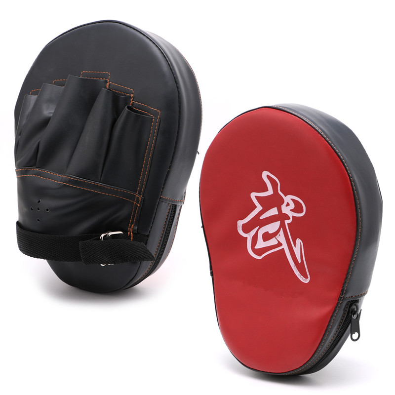 Faux Leather Martial Muay Thai Kick Kit Black Karate Training Mitt Focus Punch Pads Gloves Sparring Boxing Bags Defense Target ...