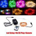20M Silver/Copper Wire Fairy String Lights Lamp DC /Remote/Power For Desk Flower Home party Decoration nightlight