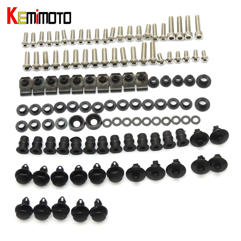 KEMiMOTO Motorcycle Fairing Bolt Screw Nuts Washers Fastener Fixation For SUZUKI GSXR GSX-R 600 750 GSXR600 GSXR750 2004 2005 front upper fairing cowling headlight headlamp stay bracket holder for 2004 2005 suzuki gsxr600 gsxr750 gsxr gsx r 600 750 k4 k5