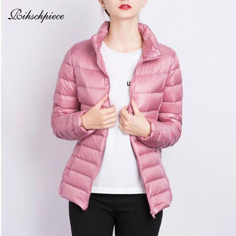 Rihschpiece Autumn Plus Size 3XL Womens   Down     Coat   Ultra Light Puffer Jackets Short Duck   Down   White Winter   Coat   RZF1496