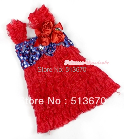 4th July Red Lace USA Star Cap Sleeve Red Rose Girl OnePiece Party Dress 1-5Year MARD005