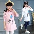 2017 весна лето горячая дети рубашка Корейская девушка печати мультфильм sh дикий длинный мода девушка долго хлопка
