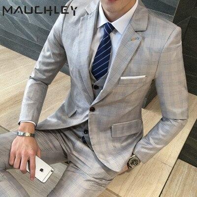 Vestido de boda de 2018 hombres traje de 3 unidades (chaqueta + chaleco +  Pantalones. Sitúa el cursor encima para ... eadc42578b4
