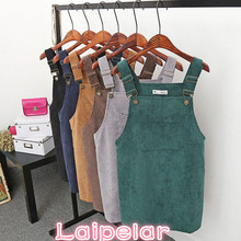 New Summer Women Corduroy Suspender Overall Vest Jumpsuit Braces Skirt skirts Preppy Style