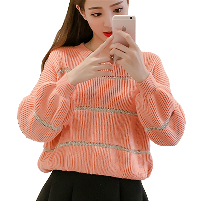 2017 Autumn Winter Women Knitted Sweater Sexy Hollow Out Long Lantern Sleeve Blue Pink White Jumper Pullover Knitwear Sweaters